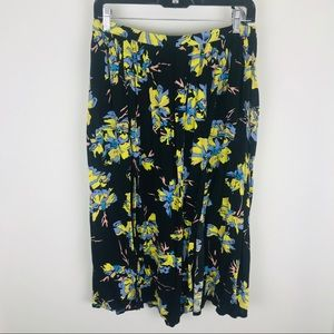 Topshop Black Yellow Floral Front Slits Flared